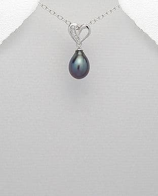 925 Sterling Silver Cultured Fresh Water Pearl  Set with CZ Stones Pendant